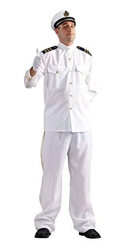 Kinder Kostüm Marines Uniform - Karneval-Klamotten Kapitän Kostüm Herren weiß mit Kapitänsmütze Größe 50