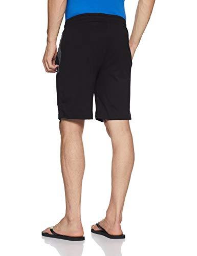 Jockey Men's Cotton Sport Shorts (9411_Black & Charcoal Melange_Large)