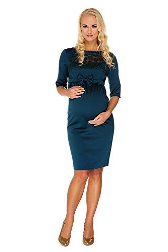 My Tummy Mutterschafts Kleid Umstands Kleid Marion grün Spitze Schleife