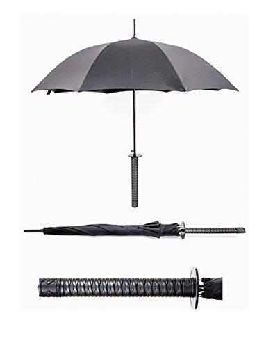 (Regenschirm, Schirm mit langem Samurai–Griff, Samurai–Schwert, Farbe: schwarz)