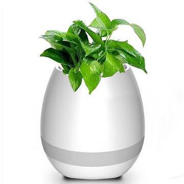 Musik Blumentöpfe Smart Wireless Bluetooth Lautsprecher mit bunten Licht Nacht für Büro oder zu Hause (Weiß)