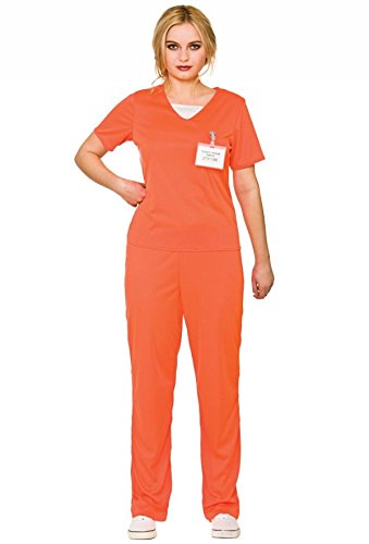 Adult\'s Women\'s Orange Convict Prisoner Shirt & Trousers Fancy Dress Costume-Small