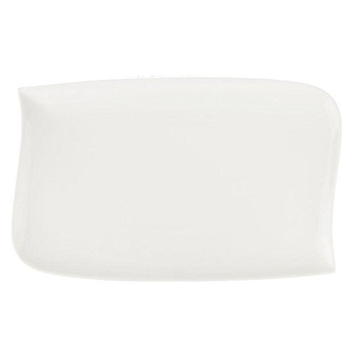 Paris Prix - Lot De 6 Assiettes Plates Rectangulaires vague 28cm Blanc