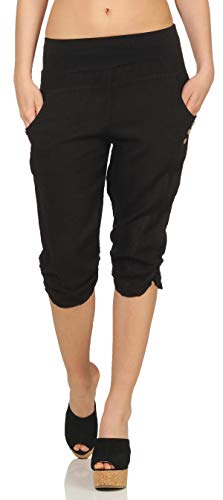 Malito Damen Hose aus Leinen | Stoffhose in Uni Farben | Freizeithose mit Knöpfen | Chino - Capri - Strandhose 7988 (schwarz, M)