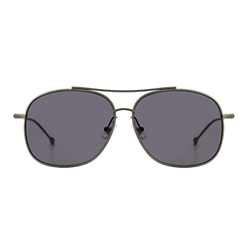 WWFF Reine Titan Sonnenbrillen Runden Großen Rahmen Brille Persönlichkeit Mode Unisex UV400 Schutz (Farbe : Gray)
