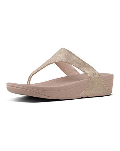 FitFlop Shimmy Toe-Thong Foil Print Suede, Sandales Plateforme Femme Rose - daim (Pink Foil Suede)