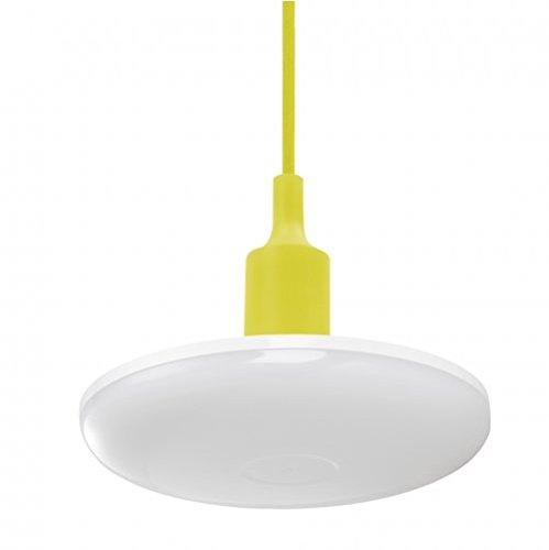 Albene eco | ciondolo appeso led 24w / 2000lm (giallo) - un elegante completo di grande e27 lampade, versione in silicone, pendente del tessuto led e rosone