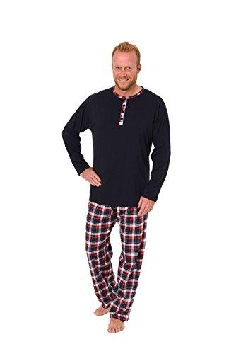 Herren Pyjama lang - Hose kariert Oberteil uni - Mix and Match Single Jersey -101 90 653, Farbe:rot;Größe:52 (Pyjama Kariertes Rot)