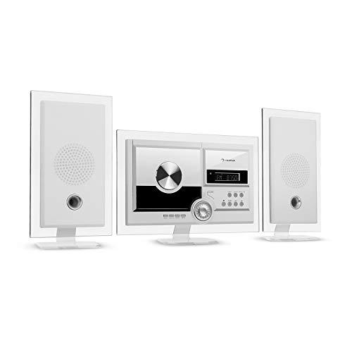 auna Stereo Sonic DAB+ Stereoanlage, Wandmontage, DAB+/UKW-Radiotuner, automatischer CD-Player, USB-Port für MP3-Dateien, Bluetooth-Funktion, AUX-Eingang, LCD-Display, Schlaf-Funktion, weiß