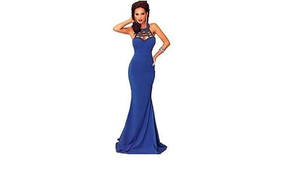 KingField Women Royal Blue Mermaid Plaid Hole Collar Maxi Dresses: Amazon.co.uk: Clothing