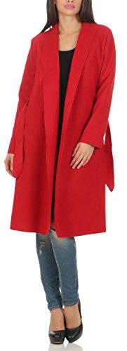 malito Damen Mantel lang mit Wasserfall-Schnitt | Trenchcoat mit Gürtel | weicher Dufflecoat | Parka – Jacke 3050 (rot)