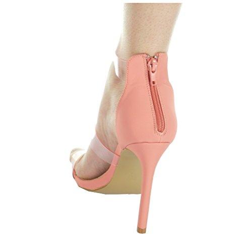 Trasparente Open Perizoma Shoes Stiletto Cm 11 Scuro Ladies Rosa Stiletto Pump Angkorly xgfO0q0