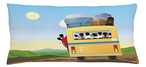 ABAKUHAUS Karikatur Kissenbezug, Überfüllten gelben Bus, Waschbar mit Reißverschluss Kissenhülle mit Farbfesten Klaren Farben Beidseitiger Druck, 90 x 40 cm, Mehrfarbig -