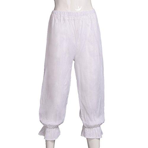 BLESSUME Damen Hose viktorianisch Weiß Pantalons Pettipants Renaissance Zigeuner Pumphose (Taille: etwa 54-96 cm / 21-37,5