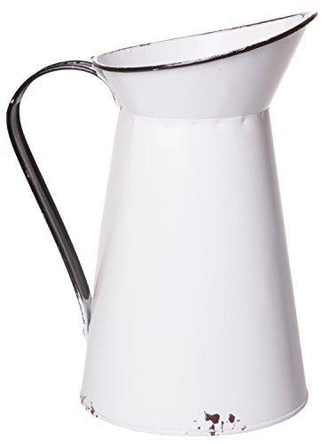R.E.D Old Aged Milch Krug, White Distressed Vintage Gießkanne, Home Deko Vase Mittelpunkt, Mittlere, 25,4cm (Milch-krug Vintage)