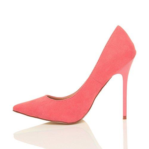 Femmes talon haut fête élégante escarpins de travail chaussures pointue taille Pastel Rose Corail daim