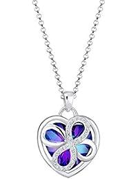 Elli Damen-Kette mit Anhänger Herz 925 Silber Swarovski Kristalle Brillantschliff 45 cm - 0102192717_45
