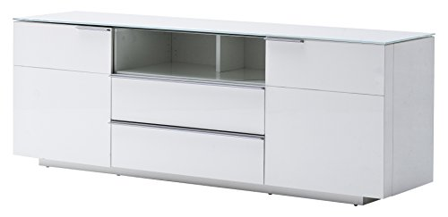 Robas Lund 48773W54 Canberra 2 Lowboard,Hochglanz weiß 165 x 41 x 58 cm