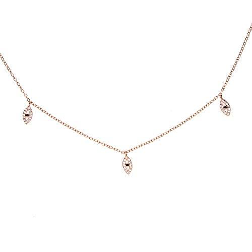 IJEWALRY Frauen Silber Halskette, Zirkon Anhänger,Cz Halsketten Mode Multi Layer Crystal Eye Anhänger Charme Elegante Halskette Erklärung Böhmischen Schmuck Für Frauen -