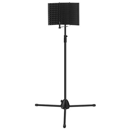 TONOR Mikrofon Schild mit Standfuß Kit Studio Foam, verstellbarem Stativständer, Mikrofon Studio-Aufnahmezubehör für Vocal-Aufnahme und Podcasting, Schwarz