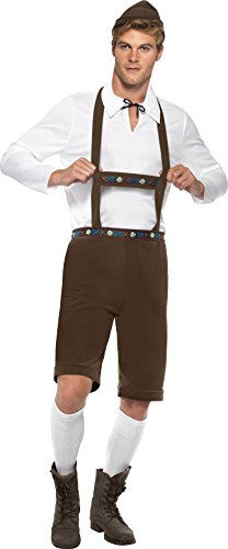 Smiffy\'s 30286 Bavarian Man Costume Lederhosen Shorts with Braces Top and Hat (Medium, Brown) (M)