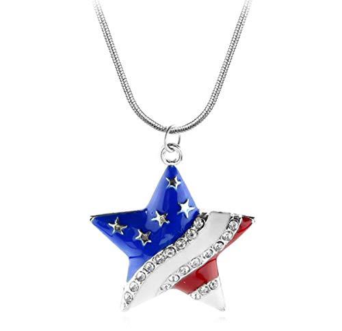 Baoleiju Diamond Accent Captain America Star Halskette mit Anhänger Amerikanische Flagge mit Schmuckbox, Captain America Halskette für Mädchen, Mädchen (Multicolor) (Multicolor Amerikanische Flagge)