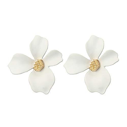 che Temperament 5-Farben-Blütenblatt Blume Ohrringe Legierung Ohrringe(Weiß,One size) ()