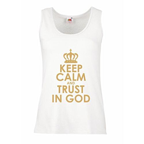 Damen Tank-Top Vertraue Gott! Jesus Christus liebt Dich - Ostern - Auferstehung - Geburt Christi, Christliche Kleidung (Large Weiß Gold)