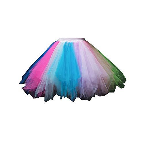 Karnevalskostüme Damen Regenbogen Übergröße Tüllrock Rock Tütü(MEHRWEG)