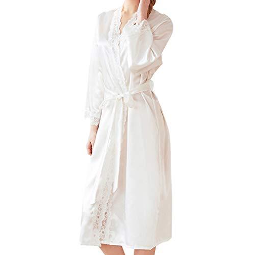 Hibote Ropa de Dormir Mujeres de satén Adorno de Encaje Vestido para el hogar Sexy Manga Larga Kimono Albornoz Vestidos Camisón Novia Traje de Boda Blanco XL