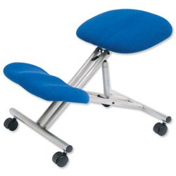 Trexus Kneeling Office Chair Steel Framed on Castors Gas Lift Seat H480-620mm Blue