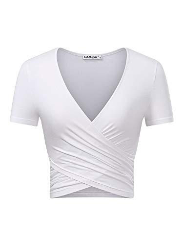 MSBASIC Women's Deep V Neck Short Sleeve Unique Cross Wrap Slim Fit Crop Tops (Large, Weiß.) -