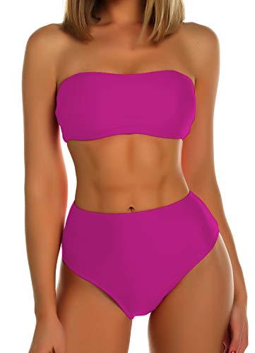 FITTOO Damen Push Up Hohe Taille Bauchweg Gepolsterter Bandeau Bikini-Set Rosa rot S (Set Und Bh Sexy Thong)