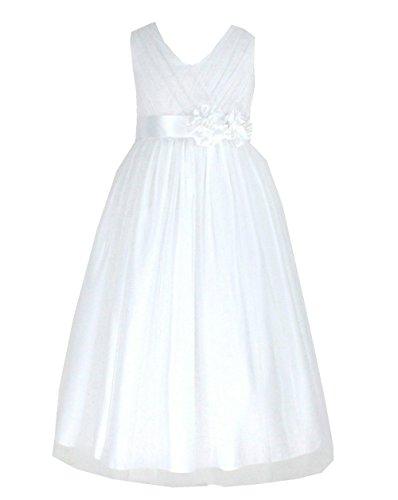 go2victoria Tüll Brautjungfern Anlässe Festkleid Mädchen Weiß Kleid Gr.98/104 (W202W-2#)