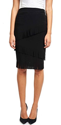 Joseph Ribkoff Black Multi-Layered Fringe Hem Skirt Style 173080
