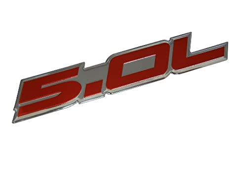 5.0L Emblem in Red on Highly Polished Aluminum Silver Chrome