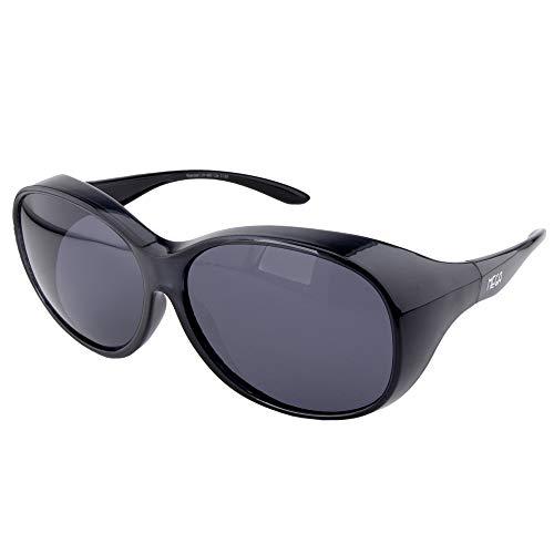 ActiveSol Überziehbrille Damen MEGA | Sonnenbrille polarisiert zum Überziehen | UV400 | Autofahren & Fahrrad | Brille über Brille für Brillenträger | Polbrille | 32g (Schwarz)