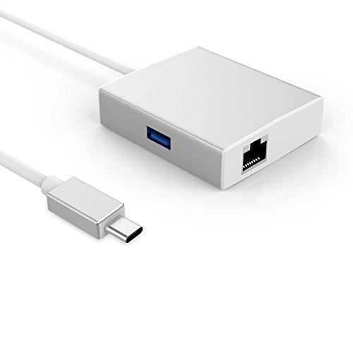 3.1 Type-C Stecker auf Gigabit Ethernet LAN Port Adapter Buchse Konverter Adapter mit 2 USB 3.0 Hub für Apple New Macbook 12-Zoll 2015 Laptop, Silber (Powered-usb-3-hub Mit Ladegerät)