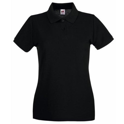 Fruit Of The Loom Lady-Fit Premium Polo Shirt 40,Schwarz - Schwarz (Pique Polo Premium Womens)