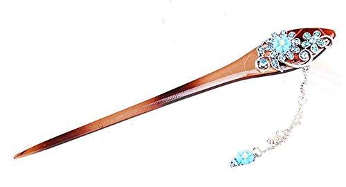 Nuptiale Coiffe Ornements cheveux épingle classique main, bleu et brun