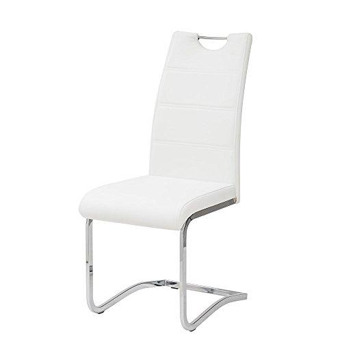 Tuoni idra set sedia, finta pelle, metallo cromato, bianco, 4 pezzi