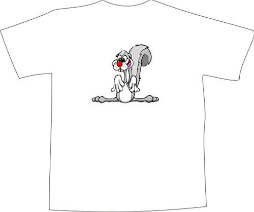 T-Shirt E758 Schönes T-Shirt mit farbigem Brustaufdruck - Logo / Grafik - Comic Design - verrücktes Kaninchen im Zirkus Schwarz