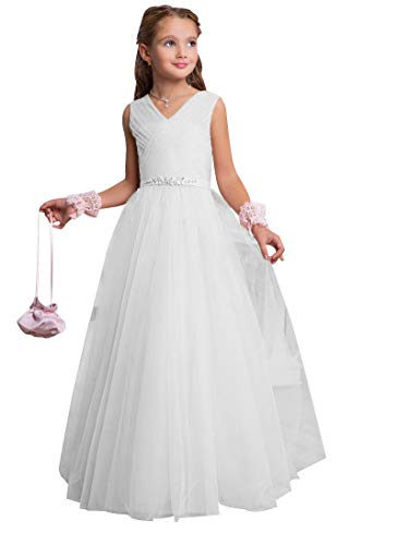 CLLA dress Mädchen V-Ausschnitt Blumenmädchenkleid A-Linie Tüll Lang Hochzeit Fest Mädchen Kleid mit Strass Bunch Kinderkleid Partykleid Kommunionkleid(Weiß,11-12 Jahre)
