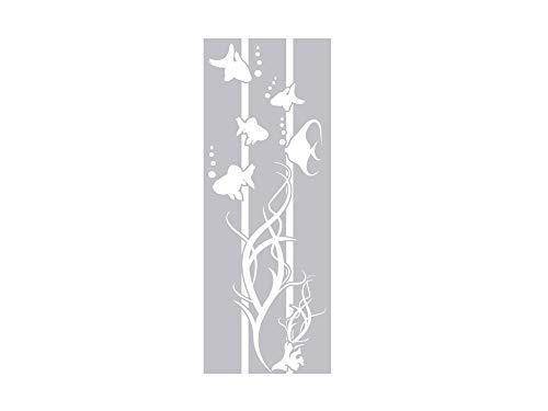 Fenstertattoo Fische mit Algen und Luft-Blasen | Fensterfolie für Badezimmer - Glastattoo für Dusche (79x30cm) ()