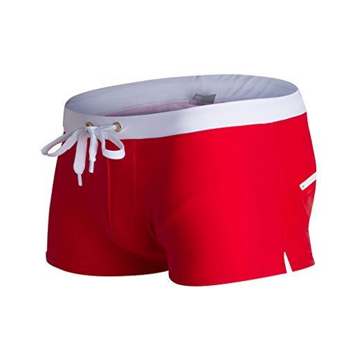 KPILP Herren Bademode Unterwäsche Übergröße Atmungsaktive Badehose Feste Strandshorts Slim Wear Boxershort(Rot,M)