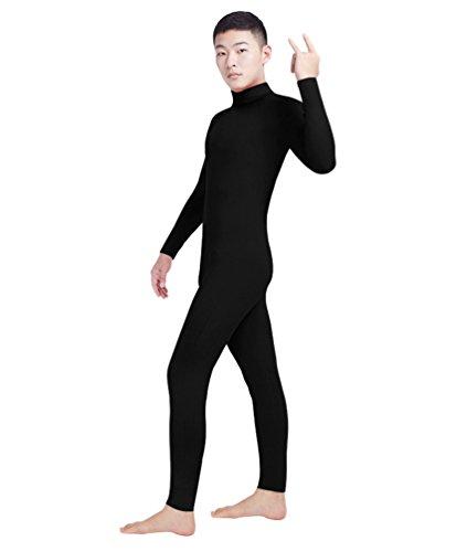 NiSeng Erwachsener und Kind Ganzkörperanzug Anzug Suit Kostüm Lange Ärmel Face Offene Outfit Schwarz L