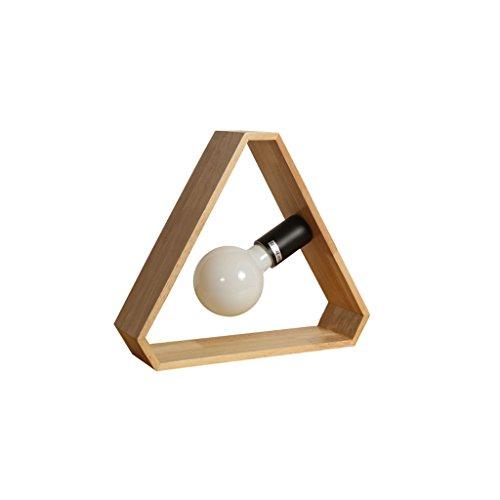 CQ Nordic Simplified Solid Wood Kleine Lampe Kreative Geometrische Holz Schreibtisch Schlafzimmer Lampe -