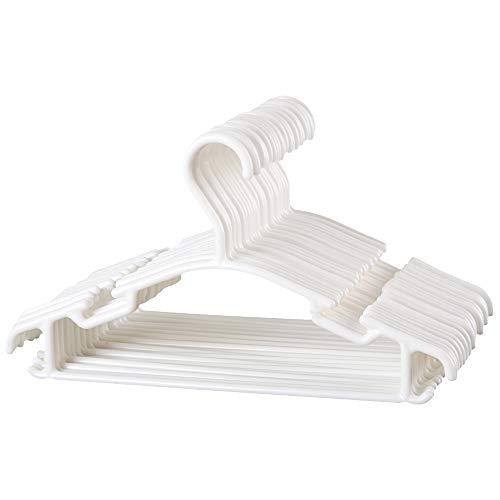oFami 30 Unidades Perchas Infantiles De Plástico Para Niños Perchas para Niños Bebé, Color Blanco