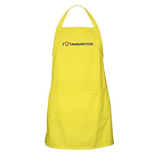 CafePress–I love Einwanderung Grillschürze–Küche Schürze mit Taschen, Grillen Schürze, Backen Schürze zitronengelb