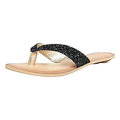 Catwalk Women's Sequin Embellished Thong Sandals